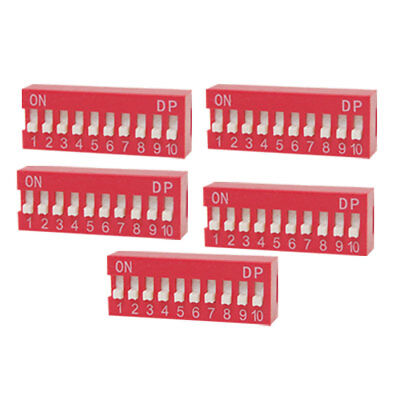 5 Pcs 2.54mm Pitch 10 Position Slide Type DIP Switch Red Grxyq