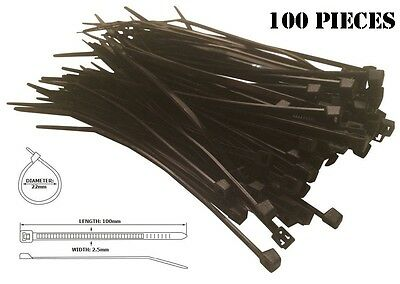 Cable Managment 100 Ties Cable Wire Tidy TV Cables Wrap Organising Clip Black