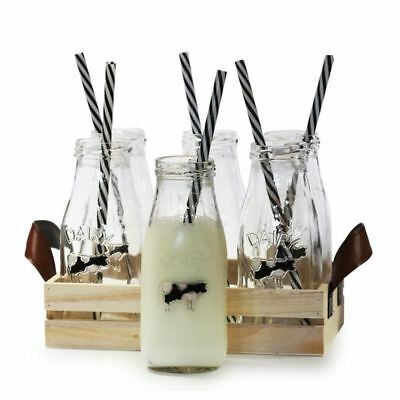 Circleware - Dairy 325ml Milk Bottle Set of 6 with Straw and Wooden Storage Tray