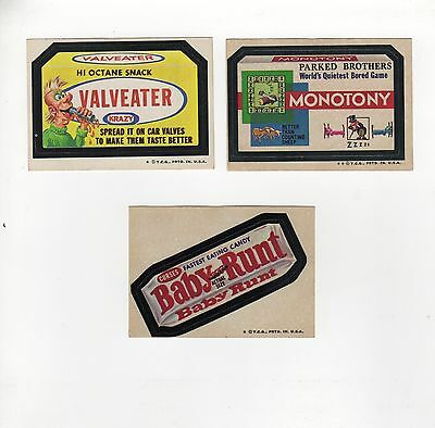 1974 6th Series Wacky Packages 3 Stickers A baby Monotony valveater