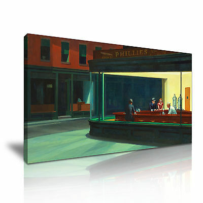 Edward Hopper Nighthawks Canvas Modern Home Office Wall Art Deco ~ More Size