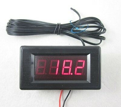 DC12V Red Digital Thermometer High Low Alarm -60~125C Temperature +2m Temp Probe