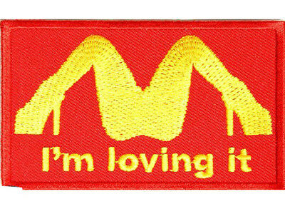 I'M LOVING IT McDonald's Embroidered Jacket Vest Funny Biker Saying Patch Emblem
