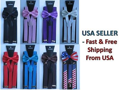 New Suspender and Bow Tie Matching Sets Tuxedo for Adults Men - Ship from USA