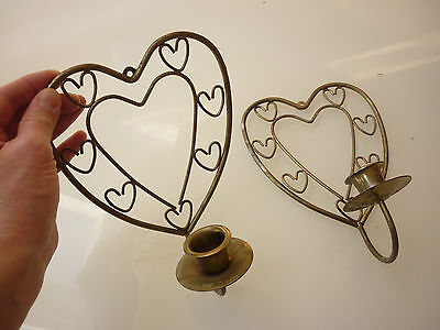 Vintage Set of 2 - Candle Stick Holder Wall Sconce - Heart - Ornate Metal Wire