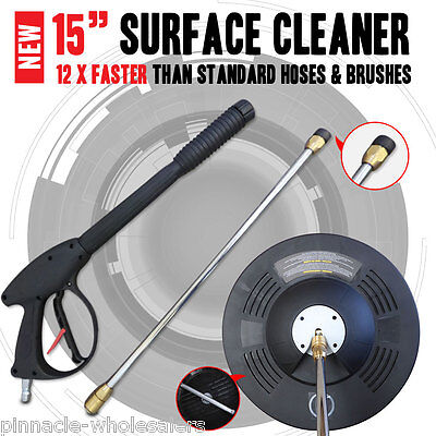 """New Industrial Grade 15"""" inch Surface Cleaning Cleaner With Pressure Washer Gun"""