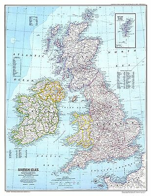Great Britain Map GBM01 Giant Large Wall Art Pic Poster A1,A2,A3,A4  1979Version