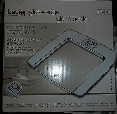 NEU ORIGINAL BEURER GS490 white Waage Personenwaage Glaswaage