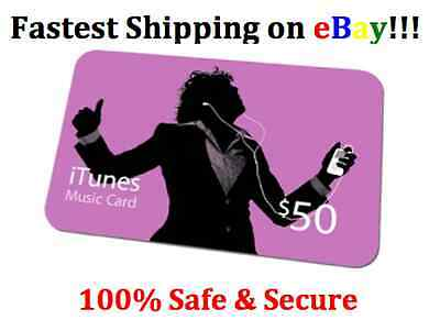 $50 US Apple iTunes Card World Wide Shipping Receive Item with in 24 hours 100%