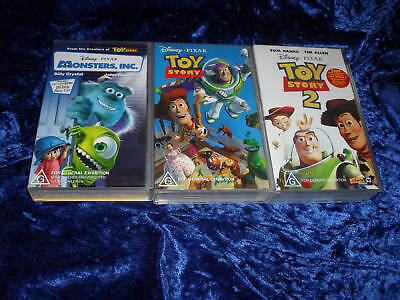 3 VHS PAL TOY STORY 1 AND 2 PLUS MONSTERS,INC VIDEOS X3