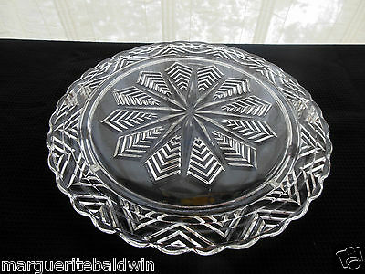 """Federal Glass Clear Snowflake Star 11 1/4"""" Footed Cake Tray Plate Platter"""