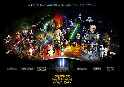 Star Wars Cast Vintage Movie ST01 Giant Large Wall Art Pic Poster A0 A1,A2,A3,A4