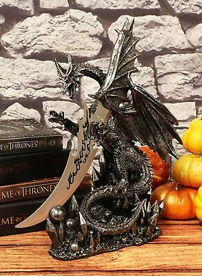"Ancient Medieval Dragon Knife Dagger Figurine Home Office Gift Decor 13"" Height"