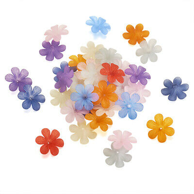 Mixed Color Chunky Transparent Frosted Acrylic Flower Beads DIY Jewelry Charms