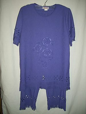 Red Hat Boutique Top & Pants Fringed With Eyelet Design XS Purple
