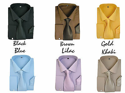 Men's Milano French Cuff Dress Shirt with Matching Tie and Handkerchief Set  27