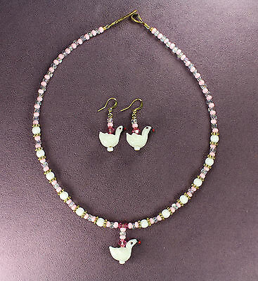 SWAN TOTEM NECKLACE EARRING SET Bird Love White Pink Crystal Gold Wedding Bridal