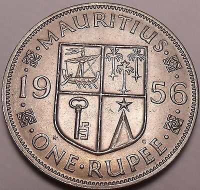 Large Gem Unc Mauritius 1956 Rupee~Fantastic~1st Year Ever~Free Shipping