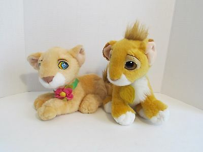 "Vintage 1993 Authentic Disney Lot of 2 ""The Lion King"" Simba/Nala Plush Toys"