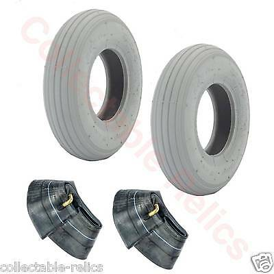 2X Tyres & Tubes 200X50 Grey Wheelchair Trolley Electric Scooter 200 x 50 PR 928