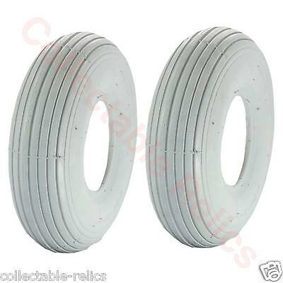 2X Tyres 3.00-4 Ply 260X85 Grey Wheelchair Trolley Electric Mobility Scooter 953