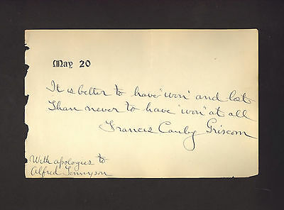 FRANCES C. GRISCOM inscribed autograph by pioneer woman golfer LPGA golf SIGNED
