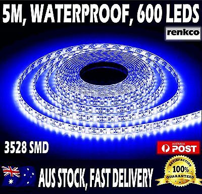 Bright Blue 600 Leds Waterproof 12V 5M 3528 SMD LED Strip Lights For Car Boat