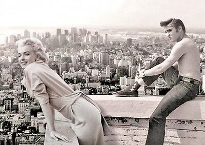 Elvis Presley Shirtless with Marilyn Monroe Balcony BW Poster
