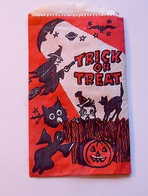 Vintage Halloween Trick or Treat Paper Bag - 6 by 3 3/4 Inches - New Old Stock