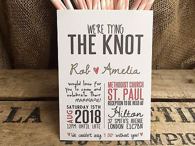Personalised Vintage Wedding Invitations Handmade With Free Rustic Red Envelopes