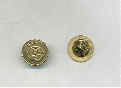 """(6) BRASS """"SUPPORT THE AFL-CIO UNION"""" LAPEL PINS  BRASS LATCH SEVERAL YEARS OLD"""