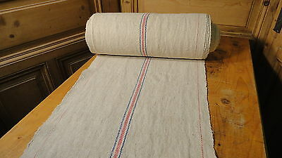 Homespun Linen Hemp/Flax Yardage 19 Yards x 19'' Red & Blue Stripes #6438