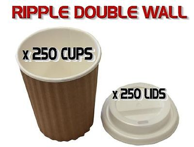 250 Sets x 8oz BROWN Ripple Double Wall Coffee Cups & Lids 230ml Disposable New