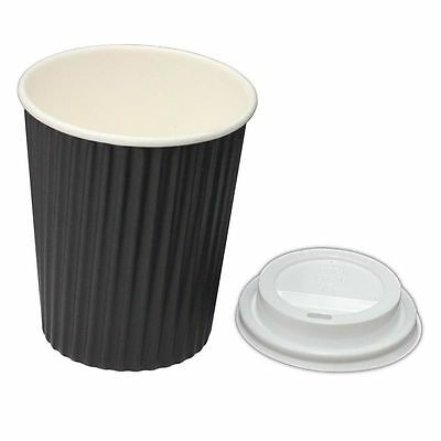 100 Sets x 12oz Black Ripple 350ml Double Wall Coffee Cups Lids Disposable