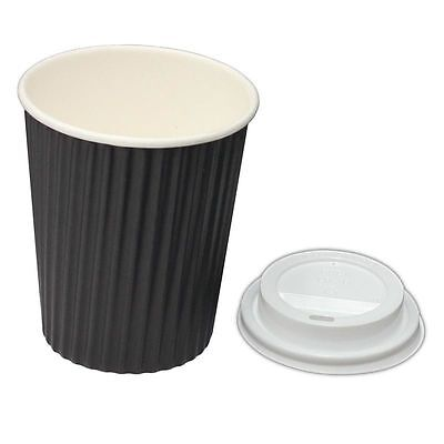 250 Sets x 12oz BLACK Ripple Double Wall Coffee Cups & Lids 350ml Disposable New
