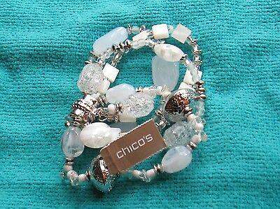 Chicos Silvertone Monica Stretch Frosted & Crackle Bead 4 Strand Bracelet