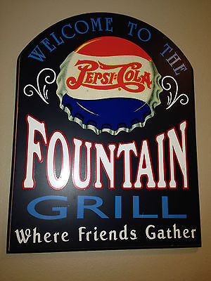 """PEPSI COLA FOUNTAIN GRILL Wooden Sign, """"Where Friends Gather"""""""
