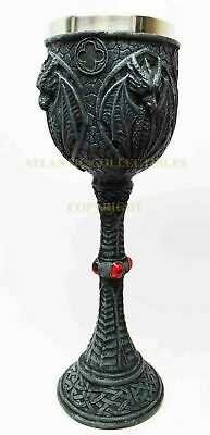 Celtic Guardian Dragon Beverage Goblet Chalice Cup with Red Gem Collectible