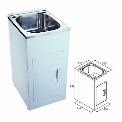 Laundry Tub 35L Stainless Steel Sink Cabinet Trough Adjustable 450 x ...