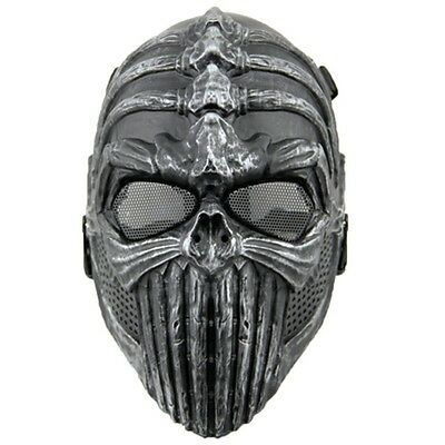 Black Silver Airsoft Paintball Full Protection Spine Skull Mask Halloween cool