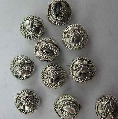 20/60pcs Retro style Double sided auspicious dragon alloy spacer charm Beads 8mm