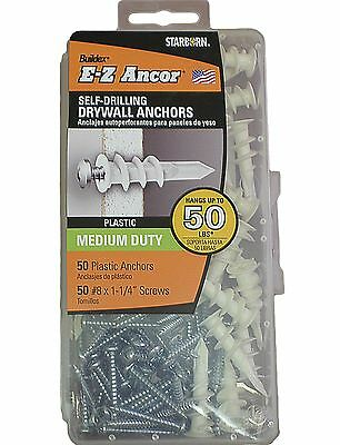 50 Plastic Self Drilling Drywall Anchors with 50 Screws Phillip #8 x 1-1/4""