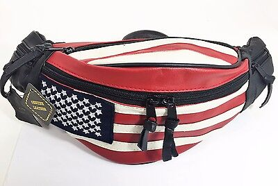Genuine Leather  American Flag Unisex Fanny Pack Bag Travel Pouch Purse - New
