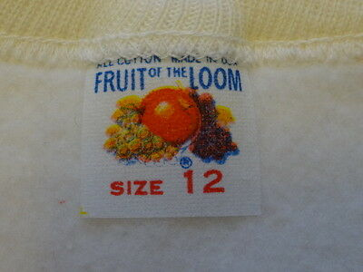 Vintage 1950s FRUIT OF THE LOOM Cotton Sweatshirt  Kids 12 USA Deadstock New Old