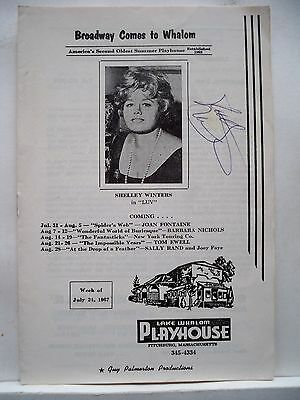 LUV Playbill SHELLEY WINTERS Autographed LAKE WHALOM PLAYHOUSE MA 1967