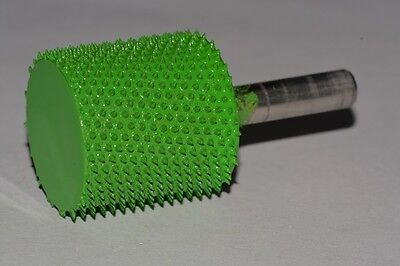 "Saburr Tooth Carving Power Green 1/4"" Shank Cylinder Safe End 1"" Coarse Grit NEW"