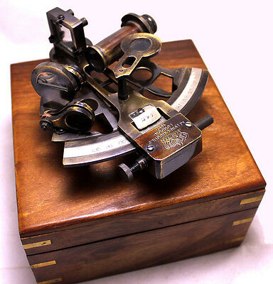 """Solid Bronze Sextant - With Wooden Box USA - Nautical Navigation Collection 4"""""""
