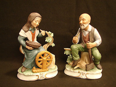Vintage Napco Old Man and Woman figurine pair C-6141. Spinning Wheel Axe