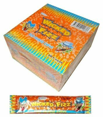 Bulk Lot 60 x Wicked Fizz Chews Orange Candy Sweets Kids Lollies Party Favors