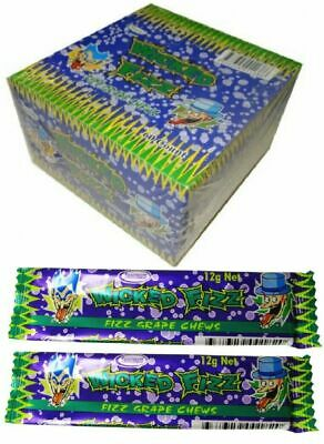 Bulk Lot 60 x Wicked Fizz Chews Grape Candy Sweets Kids Lollies Party Favors